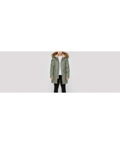 Damska parka ALPHA INDUSTRIES HOODED FISHTAIL III WMN oliwkowa