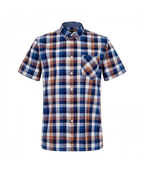 Koszula z krótkim rękawem MERC LONDON ASHFORD brązowa