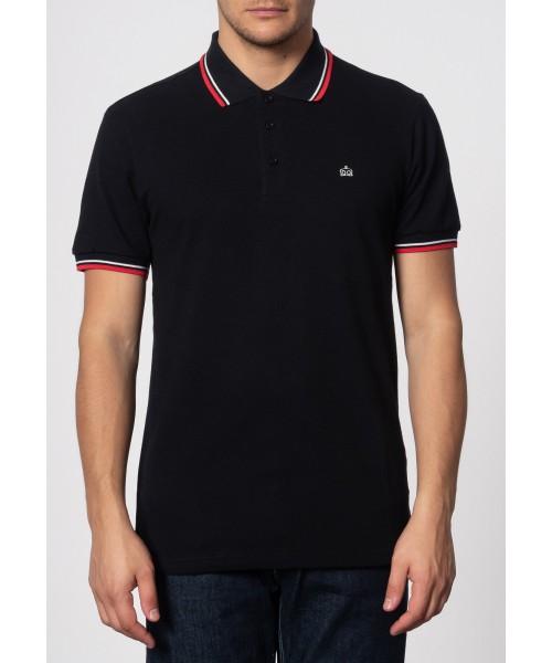 Koszulka Polo Merc London Card Czarna Biało/Czerwone paski