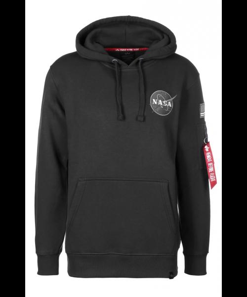 Bluza z kapturem ALPHA INDUSTRIES NASA SHUTTLE HOODY Czarna