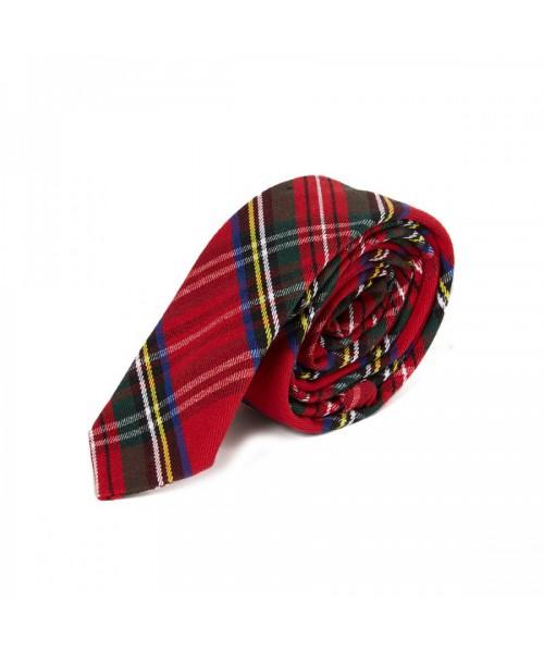Krawat w szkocką kratę HARRINGTON  czerwony