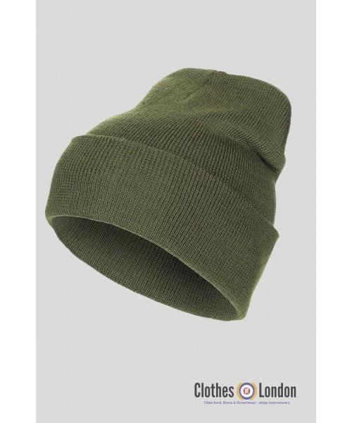 """Wełniana czapka zimowa """"Dokerka"""" MAX FUCHS oliwkowa"""
