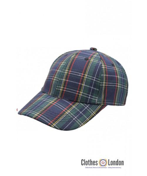 Bawełniana czapka z daszkiem SCOTTISH TARTAN HIGHLANDS Granatowa