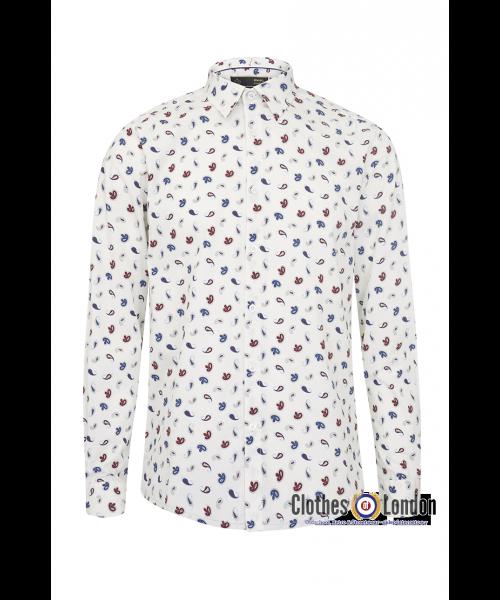 Koszula z długim rękawem MERC LONDON ALAN biała