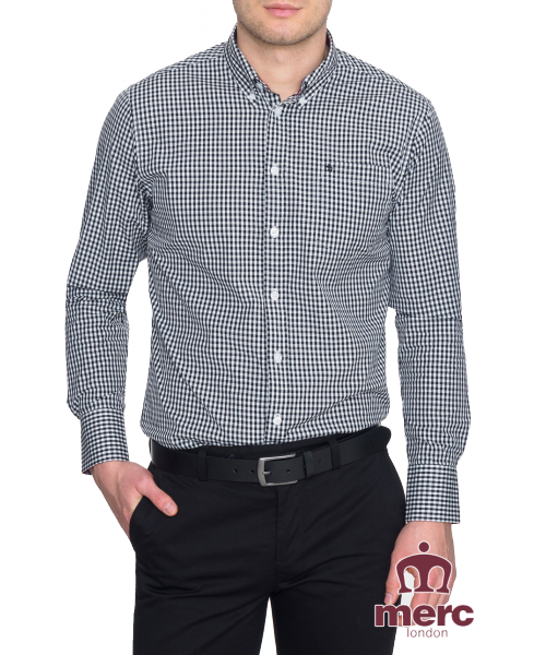 Koszula z długim rękawem MERC LONDON JAPSTER czarno-biała szachownica