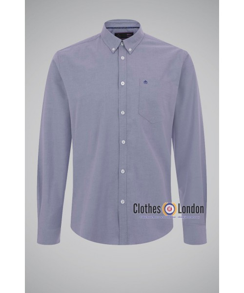 Koszula z długim rękawem MERC LONDON OVAL OXFORD Niebieska