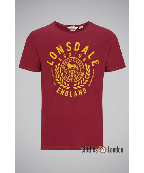 T-shirt Lonsdale London New Romney Bordowy