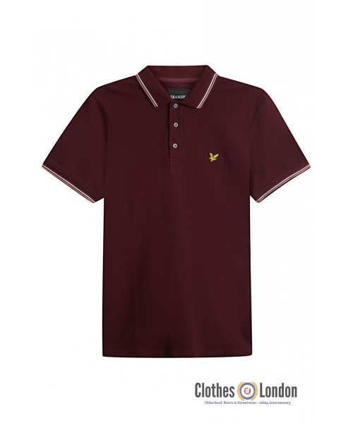 Koszulka polo LYLE & SCOTT TIPPED Dundee Oxford Bordowa