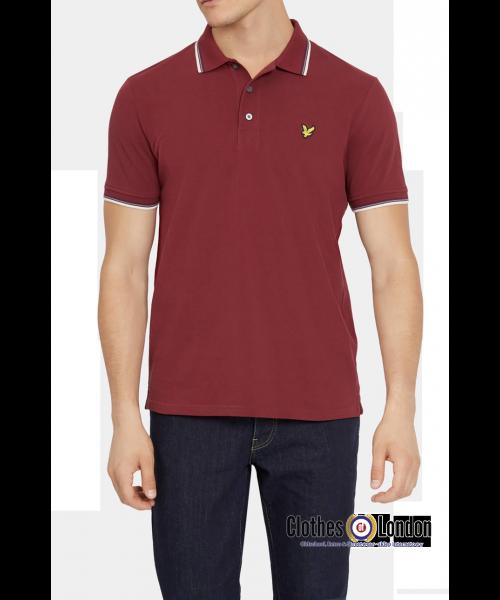 Koszulka polo LYLE & SCOTT TIPPED Bordowa