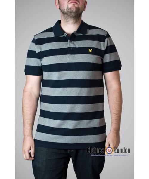Koszulka Polo Lyle & Scott Stripe Block szara