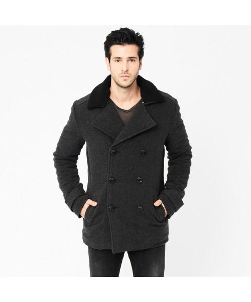 Zimowy wełniany płaszcz HARRINGTON CHEVRON