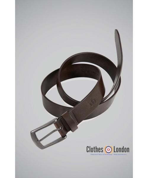 Pasek z metalową klamrą Merc London Jarrell Brązowy