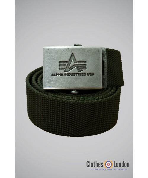 Pasek materiałowy z metalową klamrą Alpha Industries Oliwkowy