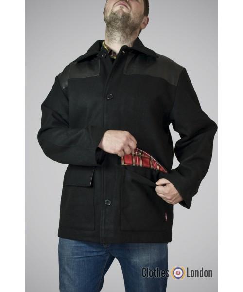 Płaszcz Warrior Clothing Donkey z łatami Czarny