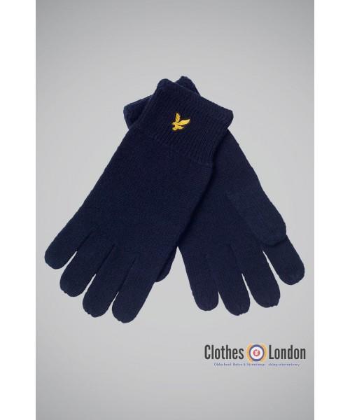 Wełniane rękawiczki Lyle and Scott Racked Granatowe