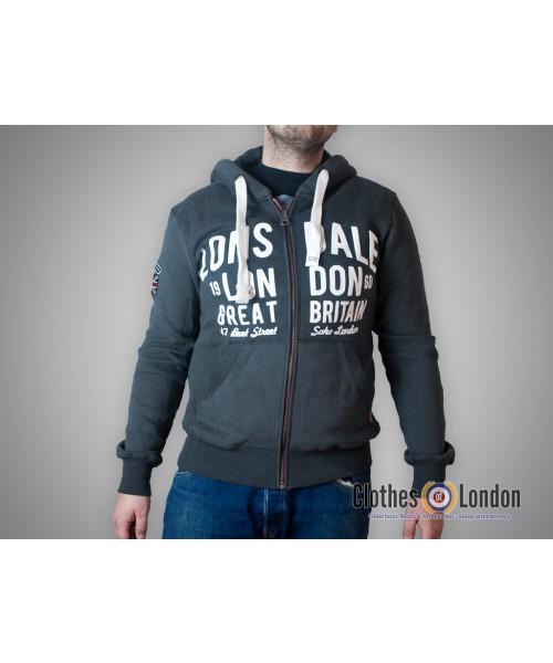 Rozpinana bluza z kapaturem Lonsdale London West Bromwich Ciemnoszara