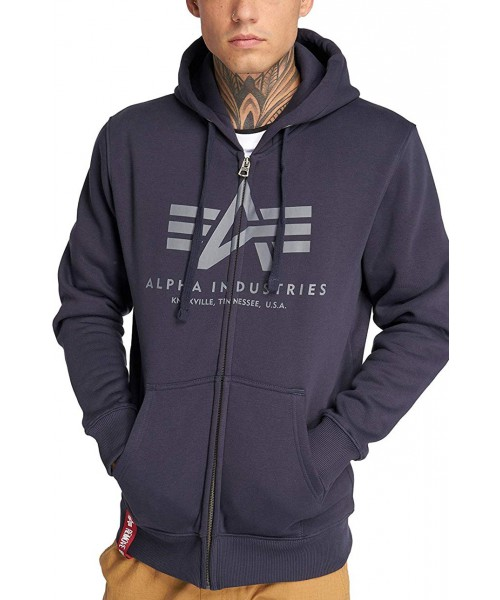 Rozpinana bluza z kapturem ALPHA INDUSTRIES BASIC ZIP HOODY Granatowa