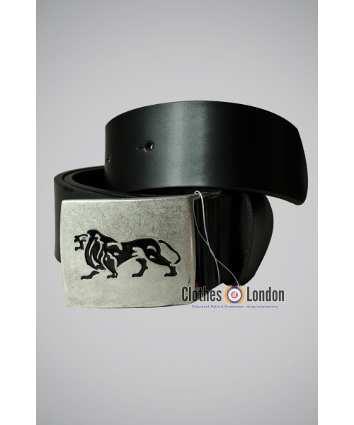 Skórzany pasek Lonsdale London Lion Czarny