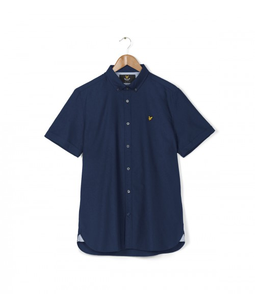 Koszula z krótkim rękawem LYLE & SCOTT OXFORD granatowa