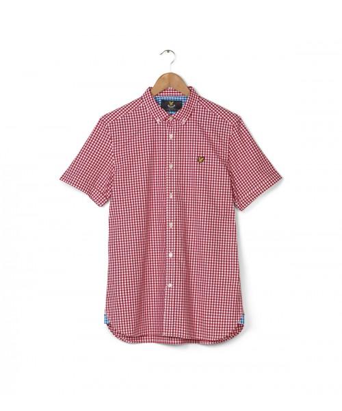 Koszula z krótkim rękawem LYLE & SCOTT GINGHAM czerwona
