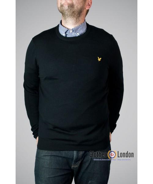 Sweter z wełny Merino Lyle & Scott Czarny