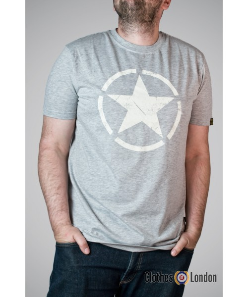 T-shirt Alpha Industries Star Szary