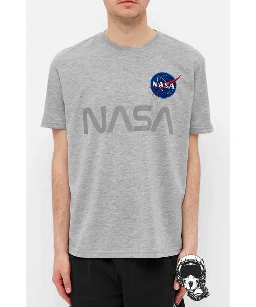 T-shirt NASA ALPHA INDUSTRIES Reflective Szara