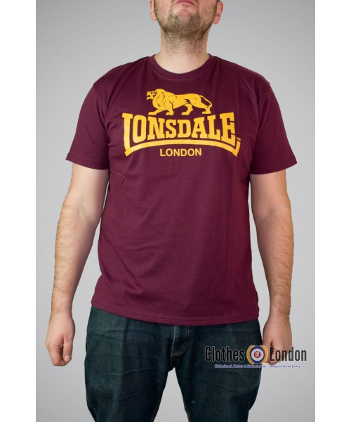 Męski T-Shirt Lonsdale London LOGO bordowy