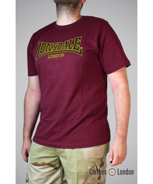 T-shirt Lonsdale London Classic Bordowa