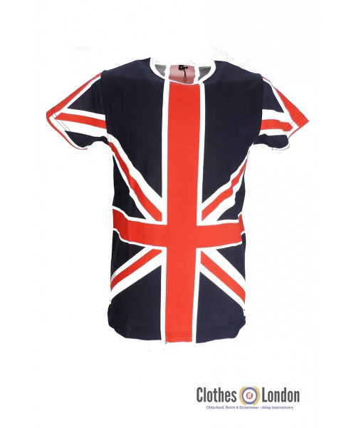 T-shirt RELCO LONDON Union Jack granatowy