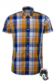 Koszula z krótkim rękawem RELCO LONDON Yellow Check CK43
