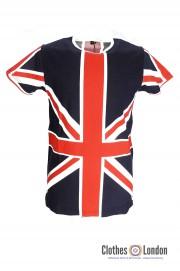 T-shirt RELCO LONDON Union Jack granatowy
