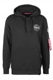 Bluza z kapturem ALPHA INDUSTRIES NASA SHUTTLE HOODY Czarna
