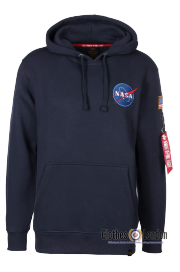 Bluza z kapturem ALPHA INDUSTRIES NASA SHUTTLE HOODY Granatowa