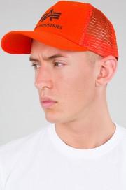Czapka z daszkiem ALPHA INDUSTRIES TRUCKER pomarańczowa