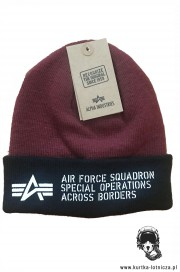 Czapka zimowa ALPHA INDUSTRIES AIR FORCE Bordowa