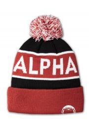 Czapka zimowa ALPHA INDUSTRIES BLOCK BOBBLE Czerwono-czarna