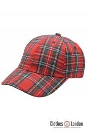 Bawełniana czapka z daszkiem SCOTTISH TARTAN HIGHLANDS Czerwona