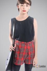 Szorty damskie Pop Boutique Check Shorts Czerwone