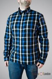 Koszula z długim rękawem Brutus Trimfit Niebiesko/Czarna