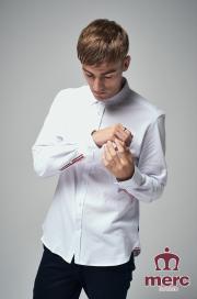 Koszula z długim rękawem MERC LONDON ALDGATE PIQUE Biała
