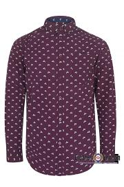 Koszula z długim rękawem MERC LONDON UPLAND SCOOTER Bordowa
