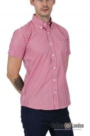 Koszula z krótkim rękawem RELCO LONDON VINTAGE GINGHAM Biało-czerwona