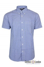 Koszula z krótkim rękawem RELCO LONDON VINTAGE GINGHAM Niebieska