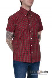 Koszula z krótkim rękawem RELCO LONDON RED TARTAN Czerwona
