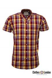 Koszula z krótkim rękawem RELCO LONDON Burgundy Check CK45