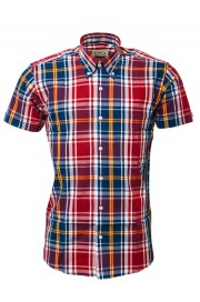 Koszula z krótkim rękawem RELCO LONDON Burgundy Check CK50