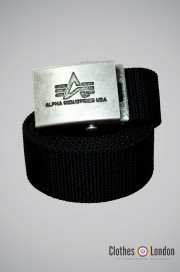 Pasek materiałowy z metalową klamrą Alpha Industries Czarny