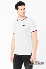 Koszulka polo HARRINGTON biała, czarno-czerwone paski