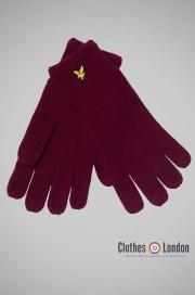 Wełniane rękawiczki Lyle and Scott Racked Bordowe